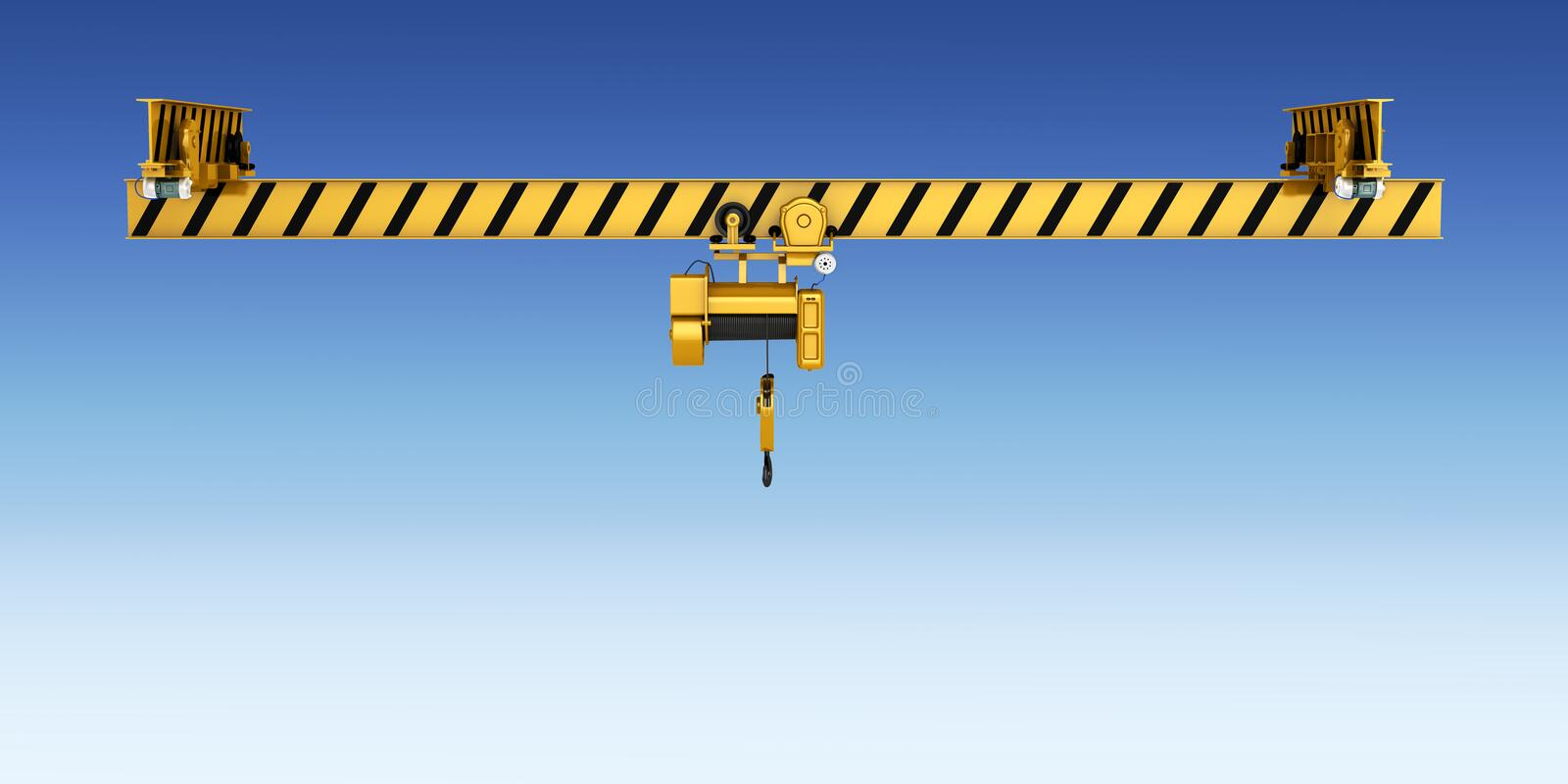 Overhead crane isolated on blue gradient background 3d vector illustration