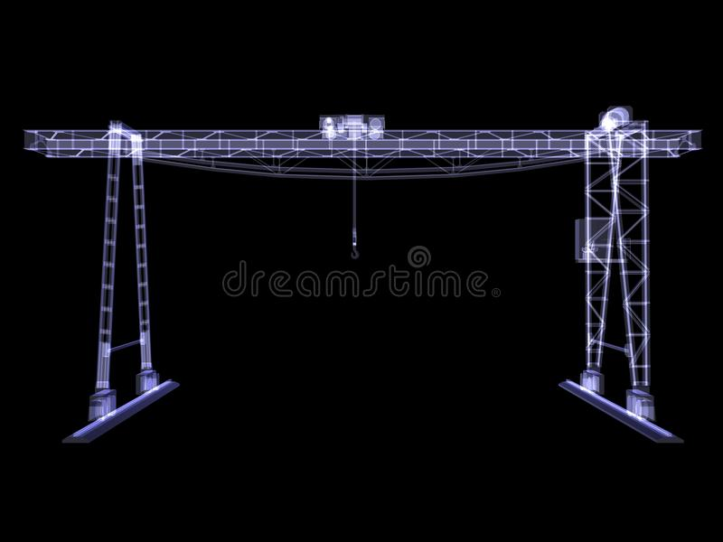 Overhead crane. X-Ray render. Isolated render on black background vector illustration