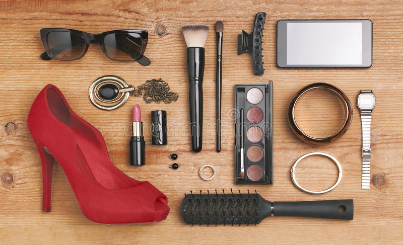 Overhead of essentials fashion woman objects. stock images