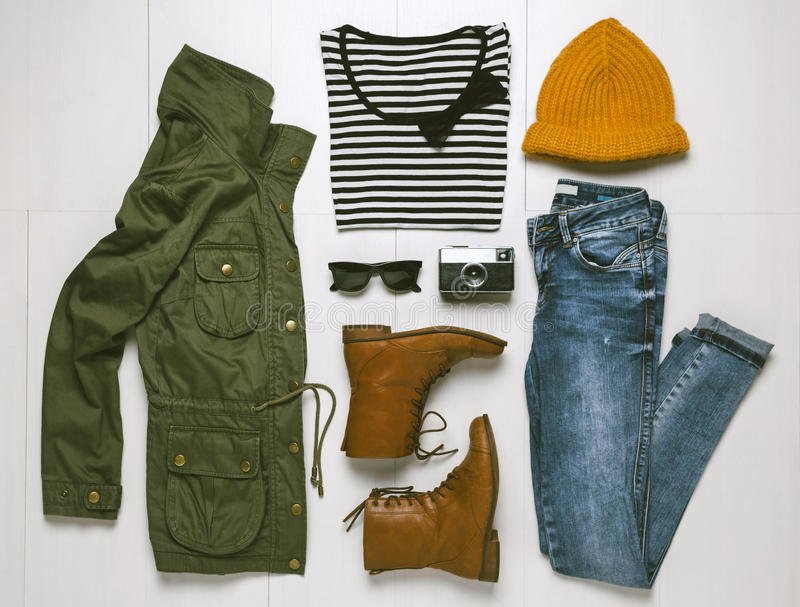 Overhead of essentials hipster woman. royalty free stock photography