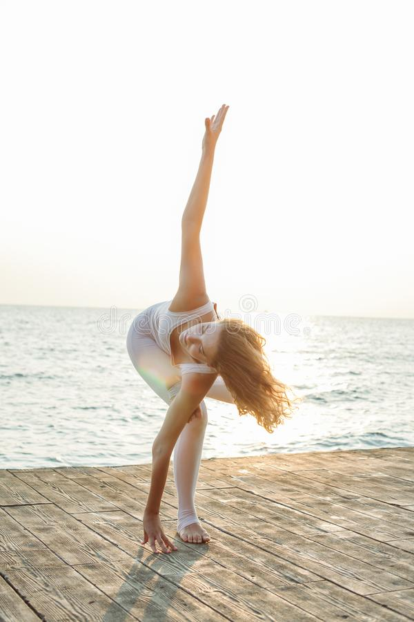 yoga and nature royalty free stock photography