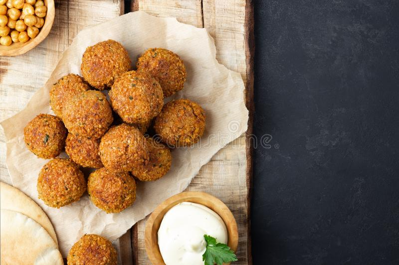 Overhead image of arabic snack falafel in the form of chickpea balls with spices royalty free stock photos