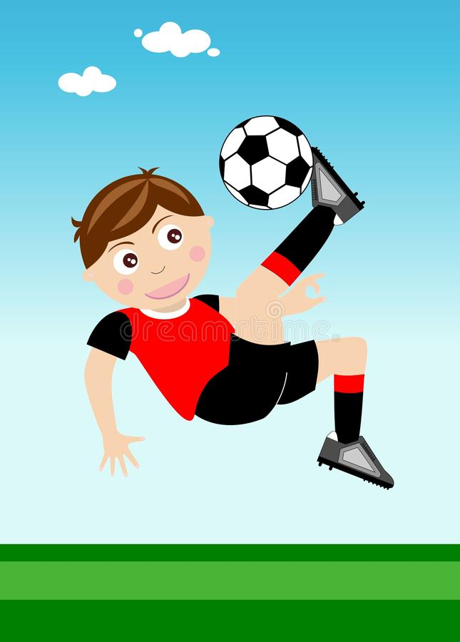 Happy Kid Performing Overhead kick stock illustration