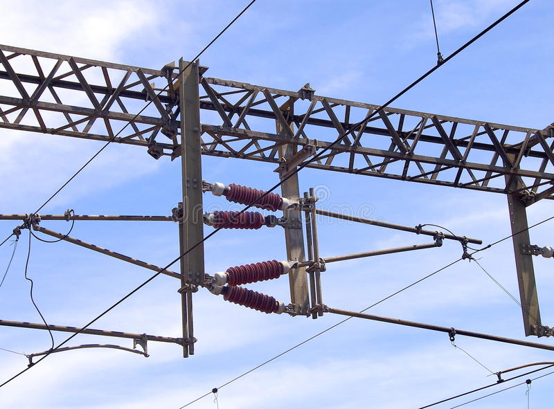Overhead line of railway tracks royalty free stock images