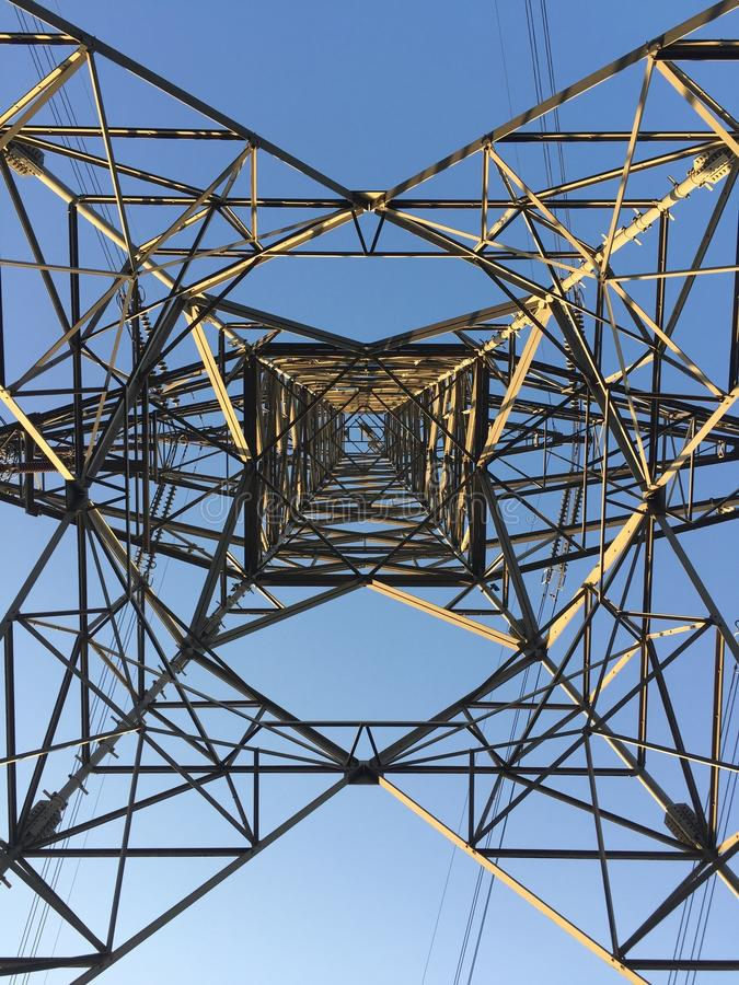 An overhead line tower stock image