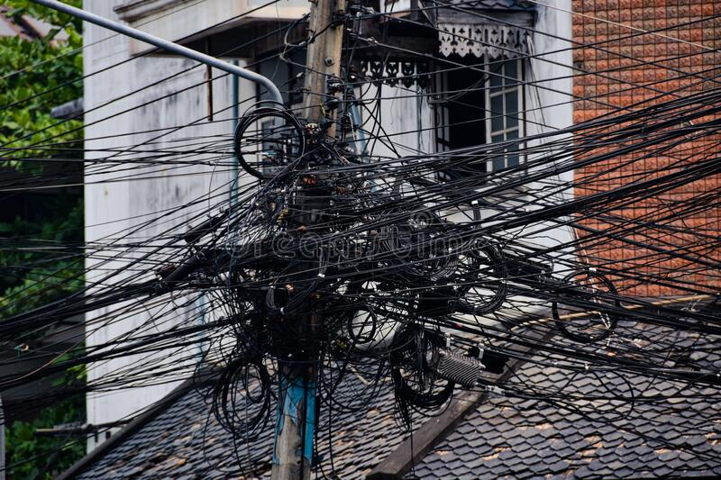 Overhead lines in Chiang Mai. Chiang Mai in Thailand with Overhead lines royalty free stock photos