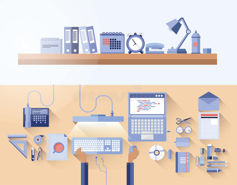 Overhead of messy desk in office royalty free illustration