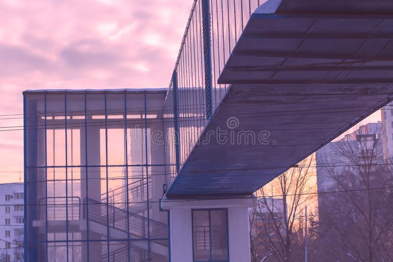 Overhead pedestrian crossing royalty free stock photography