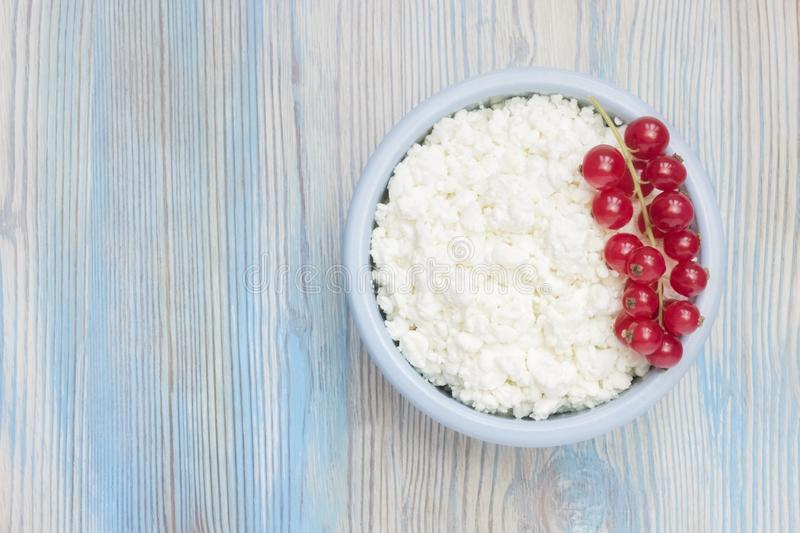 An overhead photo of fresh natural cottage cheese with red currant in a blue ceramic bowl on the wooden table. Organic eco healthy stock photos