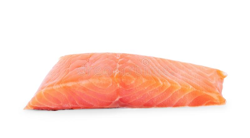 An overhead photo of slices of salmon on a white background royalty free stock photo