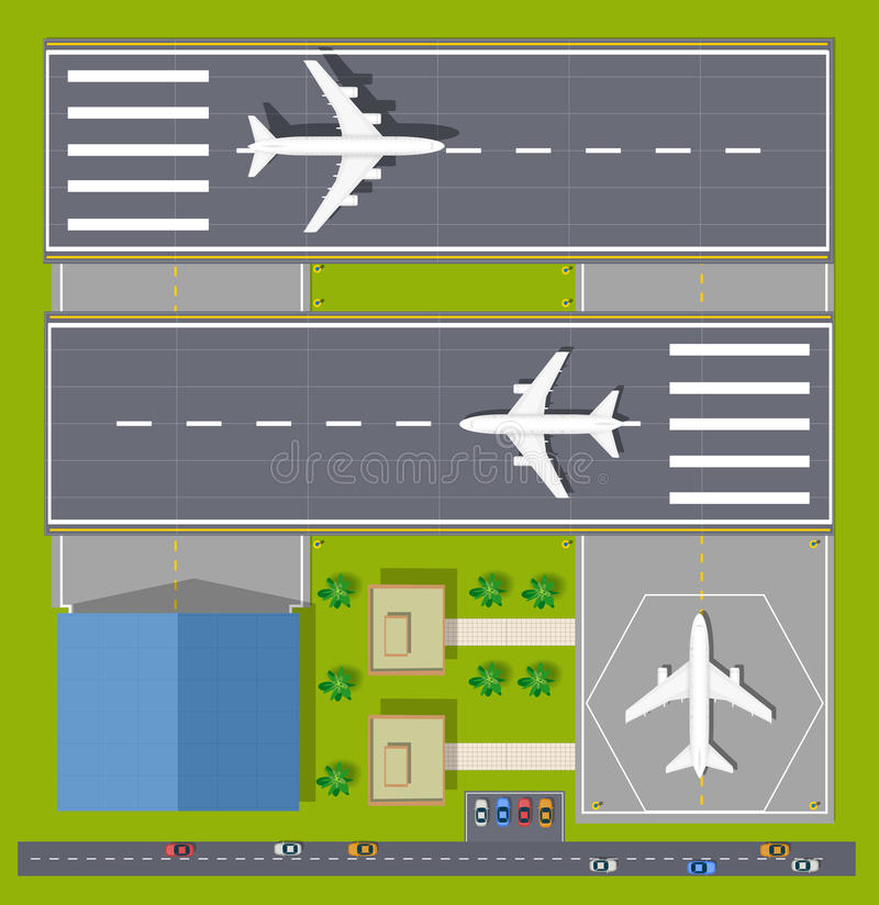 Overhead point of view airport stock illustration