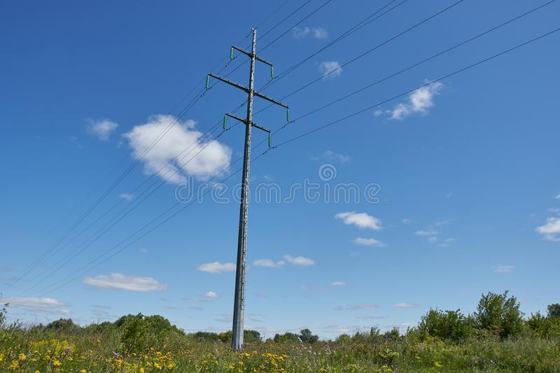 Overhead power line stock photo