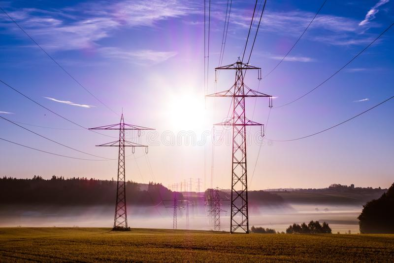 Overhead Power Line, Sky, Electricity, Transmission Tower royalty free stock photos