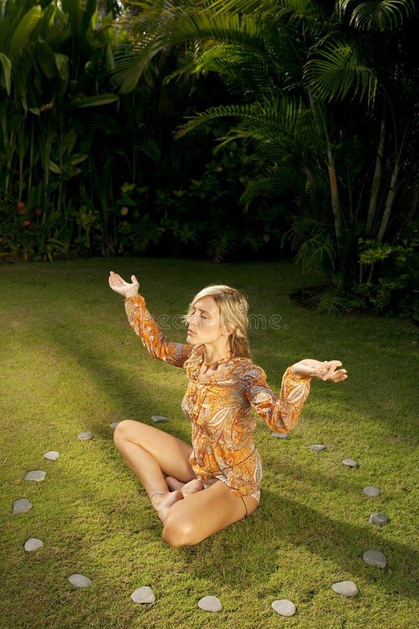 Free Overhead Profile Yoga On Grass. Royalty Free Stock Photos - 24686988