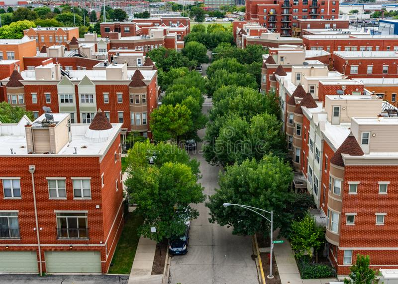 Overhead Residential Street View in Lincoln Park Chicago. Looking down at a tree lined street with residential buildings in Lincoln Park Chicago stock photography