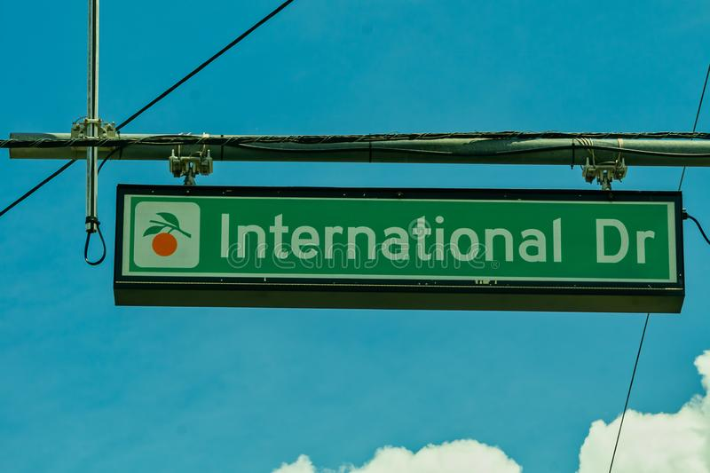 Overhead road sign indicating International Drive royalty free stock photography