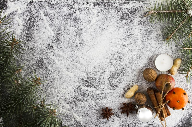OVERHEAD RUSTIC HOMEMADE ADVENT DECORATION. MERRY CHRISTMAS ORNAMENTS BACKGROUND royalty free stock images