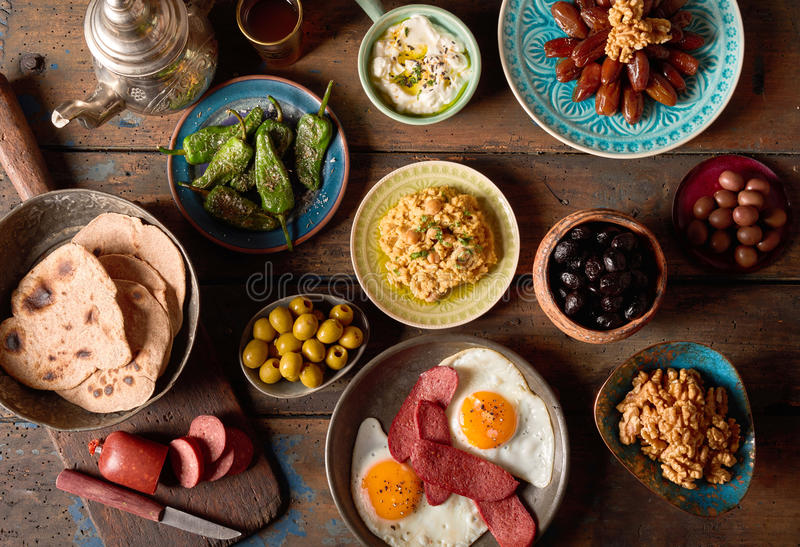 Overhead scene of rustic arabian breakfast stock photography