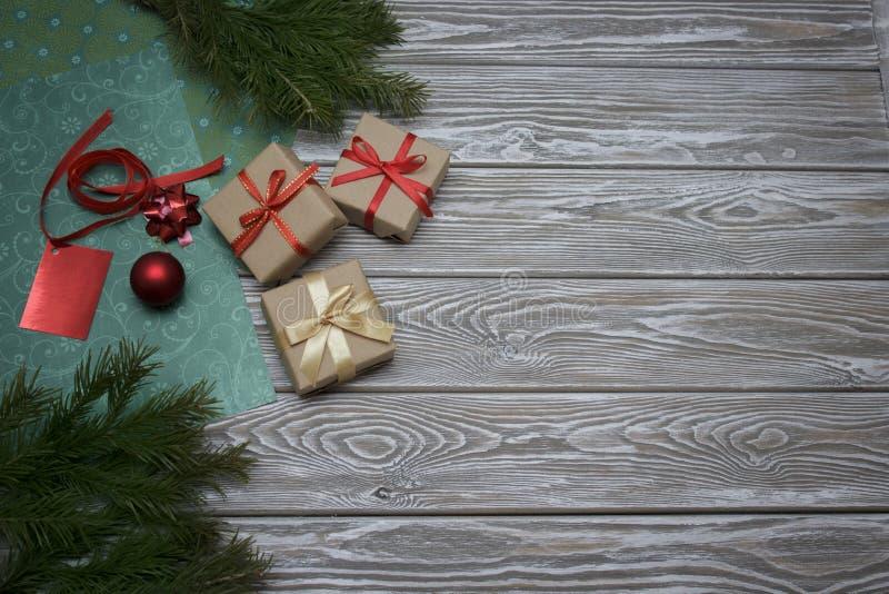 Overhead shot of Christmas presents stock photos