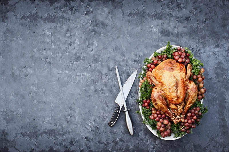 Overhead Shot of Delicious Roasted Thanksgiving Turkey with Knife stock photos