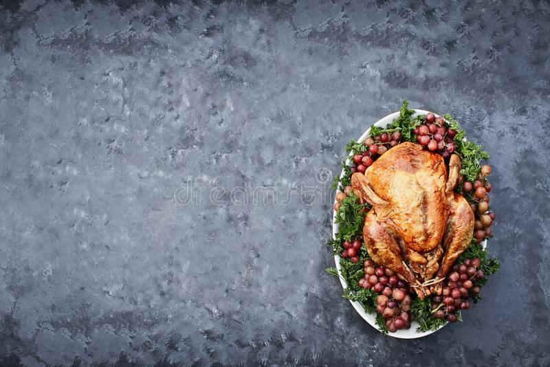 Overhead Shot of Delicious Roasted Thanksgiving Turkey royalty free stock photos