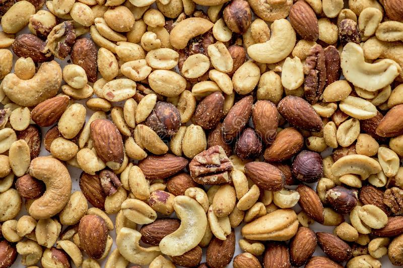 Overhead shot of different types of nuts - great for background royalty free stock photos
