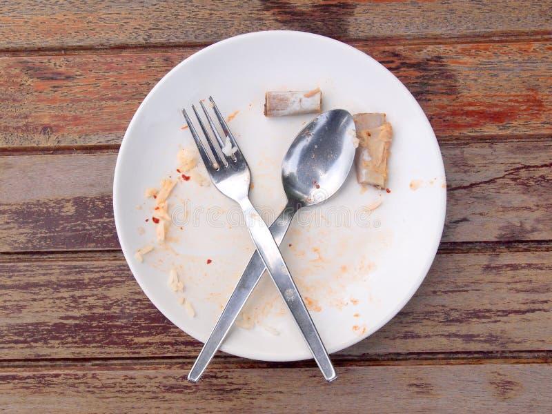 Overhead shot of an empty dish. Food stock image