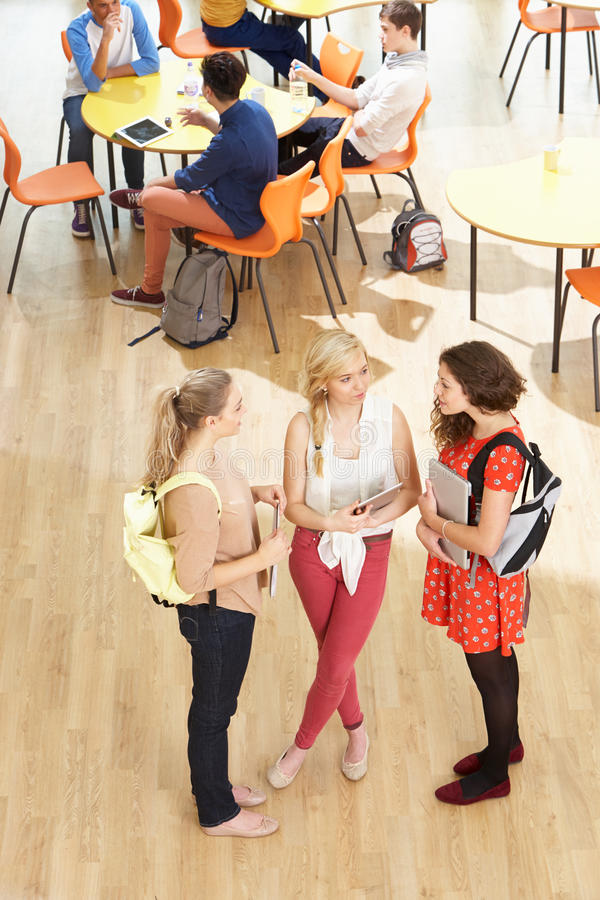 Overhead Shot Of Female Students Standing In Cafeteria. Talking stock images