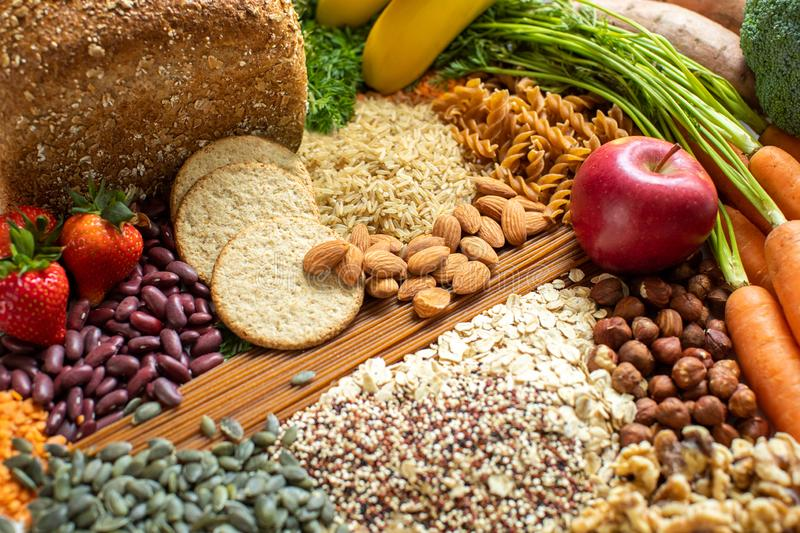 Overhead Shot Of Foods Containing Healthy Or Good Carbohydrates. Shot Of Foods Containing Healthy Or Good Carbohydrates stock photos