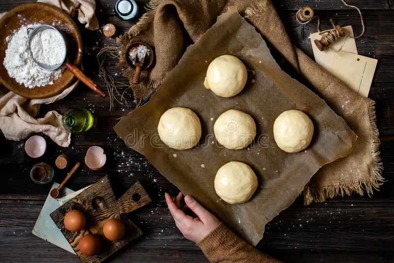 Overhead shot of homemade baked tasty buns for burger or breakfast. Overhead shot of homemade unbaked egg washed yeast dough buns on baking tray with parchment royalty free stock photo