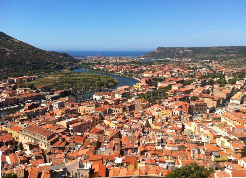 Overhead shot of Italian town stock photography