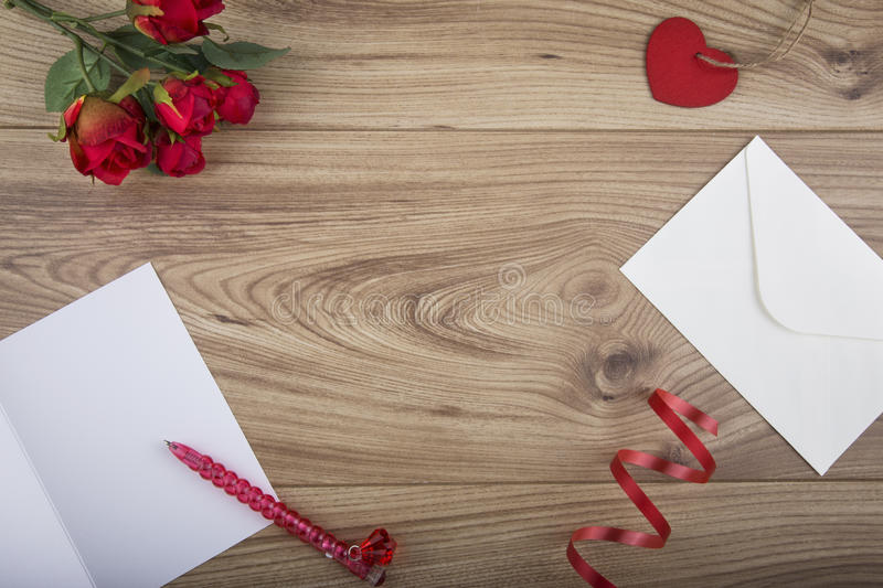 Overhead shot Valentines Day Concept. With copy space in the centre stock photos