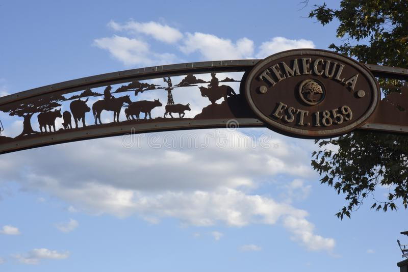 Temecula overhead sign royalty free stock photography