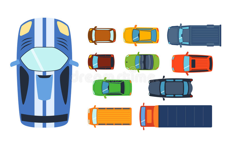 Overhead top view on colorful car toys different pickup automobile transport and collection wheel transportation design stock illustration
