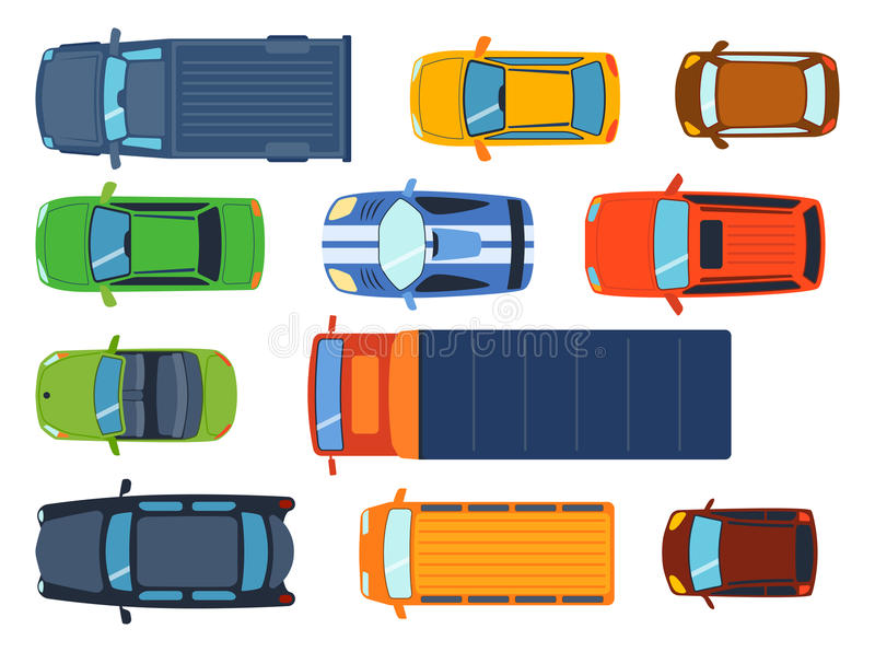 Overhead top view on colorful car toys different pickup automobile transport and collection wheel transportation design royalty free illustration