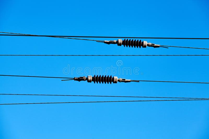 Overhead train electric traction system. royalty free stock image