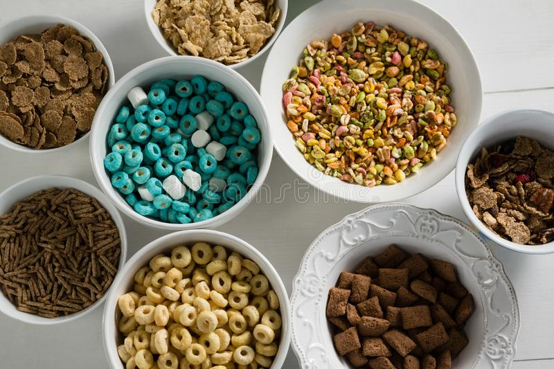 Bowls of various breakfast stock image