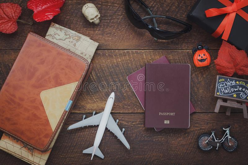 Overhead view of accessory Happy Halloween with items to travel background concept. royalty free stock photos