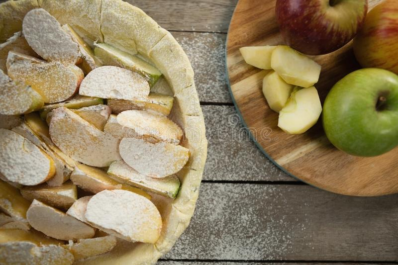 Overhead view of apple pie preparation royalty free stock photo