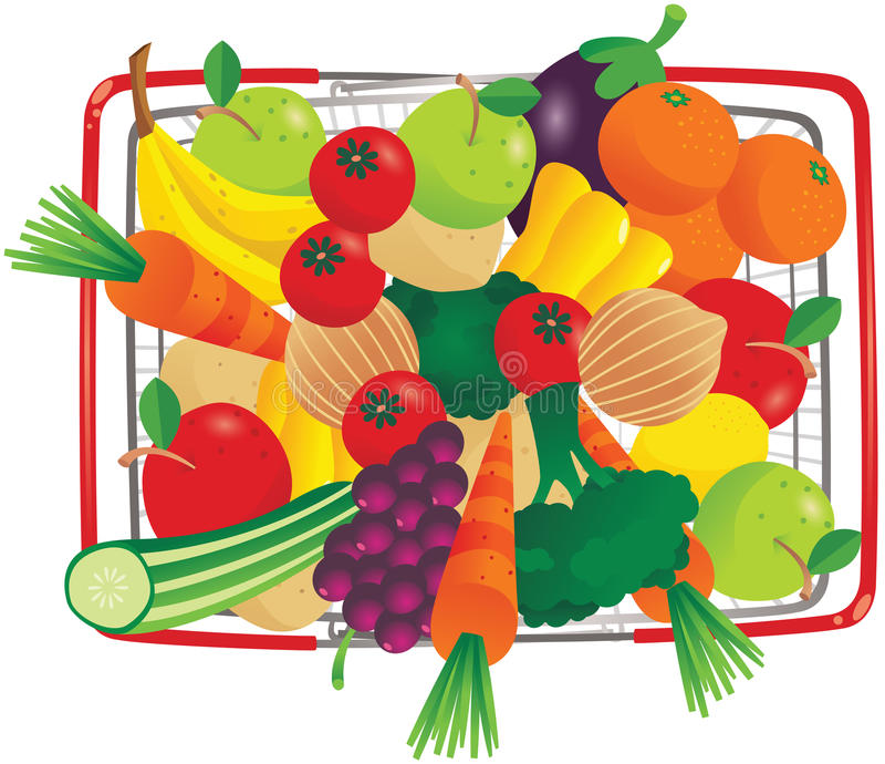 Overhead view basket of groceries stock illustration