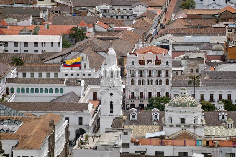 Overhead view of Quito Presidential Palace stock photography