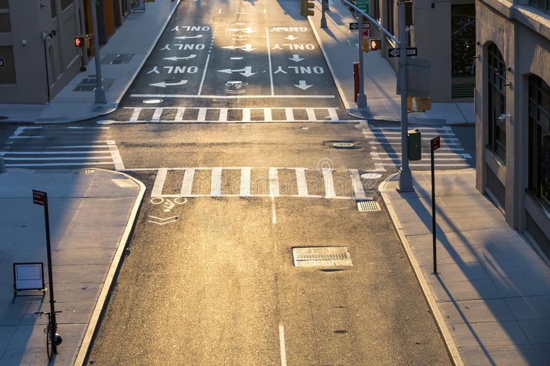 Overhead view of empty intersection in New York City royalty free stock photography