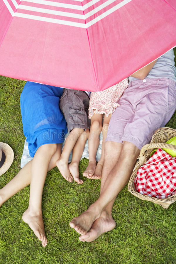 Overhead View Of Family Enjoying Picnic Together stock photography