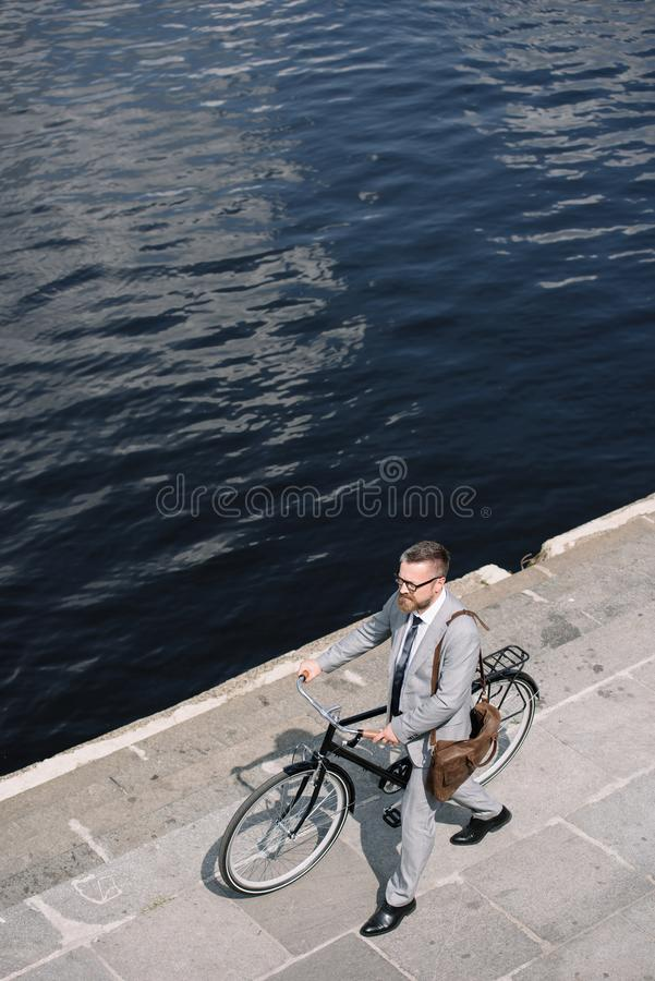 overhead view of handsome businessman stock photo