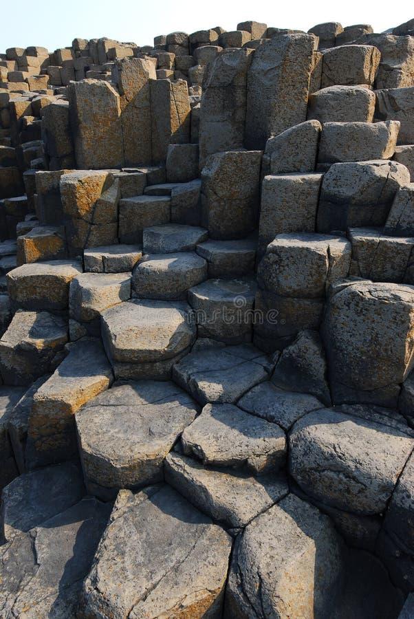 Overhead view of hexagonal stones in Northern Ireland royalty free stock image