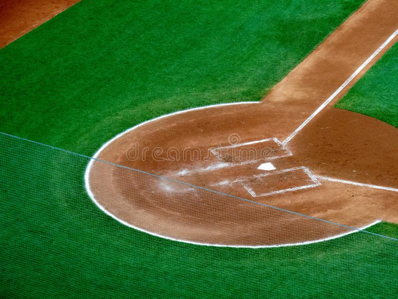 Overhead view of home plate portion of a baseball field stock image