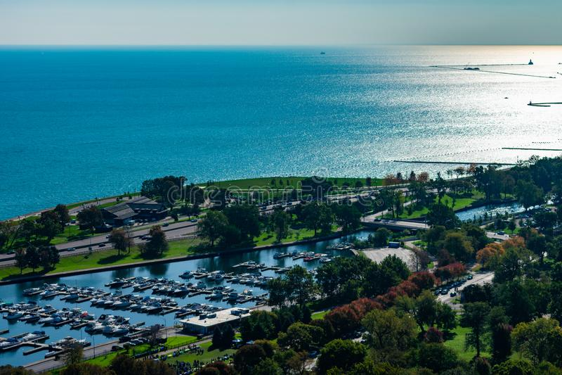 Overhead View of the Lake Front in Lincoln Park Chicago royalty free stock photography