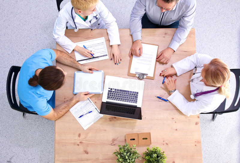 Overhead view of medical workers having a meeting royalty free stock photo