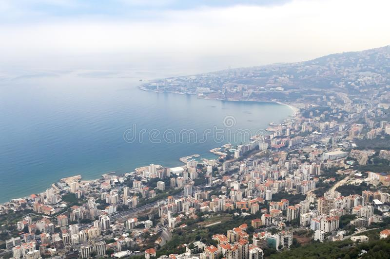 Overhead view of Jounieh Bay in Beirut Lebanon. Overhead view of the Mediterranean Sea and the buildings around Jounieh Bay in Beirut Lebanon stock photography