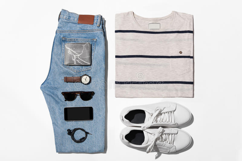 Overhead view of men's casual outfits, Outfits of traveler, male stock photo